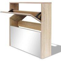 Shoe Cabinet 2-Layer Mirror Oak 63x17x67 cm - Brown - Vidaxl