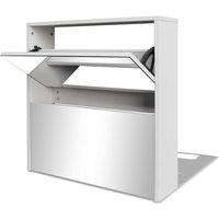 Shoe Cabinet 2-Layer Mirror White 63x17x67 cm - White - Vidaxl