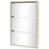 Shoe Cabinet 3-Layer Mirror Oak 63x17x102.5 cm - Brown - Vidaxl