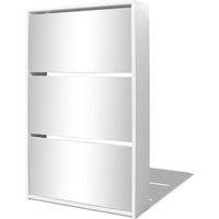 Shoe Cabinet 3-Layer Mirror White 63x17x102.5 cm - White - Vidaxl
