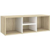 Shoe Storage Bench White and Sonoma Oak 105x35x35 cm Chipboard - Beige - Vidaxl