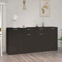 Sideboard Black 160x36x75 cm Chipboard - Black - Vidaxl