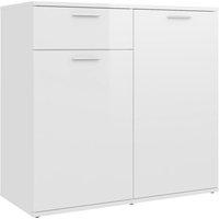 vidaXL Sideboard High Gloss White 80x36x75 cm Chipboard - White