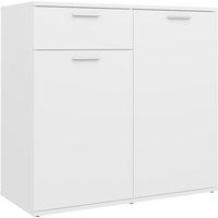 Sideboard White 80x36x75 cm Chipboard - White - Vidaxl