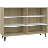 Sideboard White and Sonoma Oak 103.5x35x70 cm Chipboard - Beige - Vidaxl