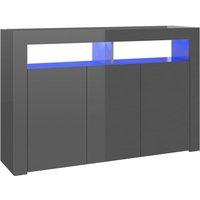 Sideboard with LED Lights High Gloss Grey 115.5x30x75 cm - Grey - Vidaxl