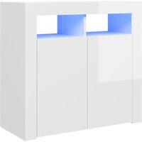 Sideboard with LED Lights High Gloss White 80x35x75 cm - White - Vidaxl