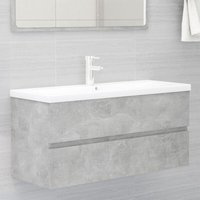 vidaXL Sink Cabinet with Built-in Basin Concrete Grey Chipboard