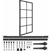 Sliding Door Aluminium and ESG Glass with Hardware 90x205cm - Black - Vidaxl