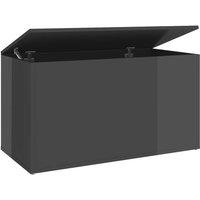 vidaXL Storage Chest High Gloss Grey 84x42x46 cm Chipboard - Grey