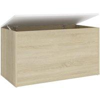 Storage Chest White and Sonoma Oak 84x42x46 cm Chipboard - Beige - Vidaxl
