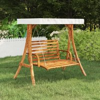 Swing Frame with Cream Roof Solid Spruce Wood with Teak Finish - Brown - Vidaxl
