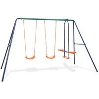 vidaXL Swing Set with 4 Seats Orange - Orange