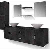 vidaXL Bathroom Furniture and Basin Set Nine Piece Black - Black