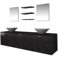 vidaXL Bathroom Furniture and Basin Set Eight Piece Black - Black