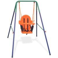 vidaXL Toddler Swing Set with Safety Harness Orange - Orange