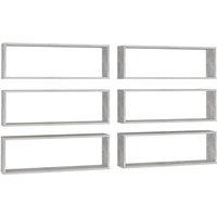 vidaXL Wall Cube Shelves 6 pcs Concrete Grey 80x15x26.5 cm Chipboard - Grey