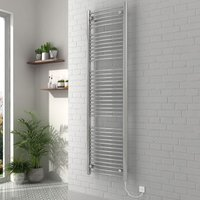 Vienna 1800 x 500mm Curved Chrome Electric Heated Towel Rail - please select - please select
