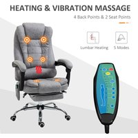 Fabric 6-Point Heating Vibration Massage Office Chair w/ Footrest Grey - Vinsetto