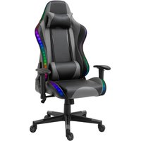 LED Light Racing Chair Ergonomic PU Leather Thick Padding High Back w/ Removable Pillows Adjustable Height 5 Wheels 360° Swivel Rocking Gaming Chair