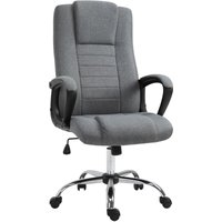 Linen Office Chair 360° Swivel High Back Wide Adjustable Seat Grey - Vinsetto