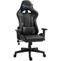 Vibrating Massage Computer Gaming Chair Reclining Seat Wheels Blue - Vinsetto
