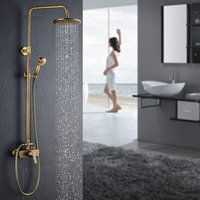 Vintage Brass Bathroom Shower System 2 Function Mixer Shower Set with Rainfall Shower and Hand Shower