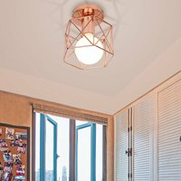 Stoex - Vintage Ceiling Light Iron Metal Lampshade Industrial Ceiling Lamp Cage Retro Chandelier for Cafe Hallway Bedroom Kitchen Living Room-Rose