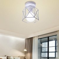 Stoex - Vintage Ceiling Light Iron Metal Lampshade Industrial Ceiling Lamp Cage Retro Chandelier for Cafe Hallway Bedroom Kitchen Living Room-White