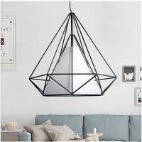 Vintage Metal Iron Pendant Light Creative Retro Pendant Light 20CM Diamond Cage Chandelier E27 Bulb Industrial Hanging Light -Black