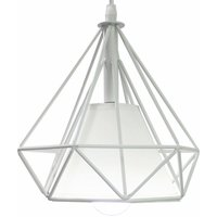 Vintage Metal Iron Pendant Light Industrial Hanging Light Creative Retro Pendant Light 20CM Diamond Cage Chandelier E27 Bulb -White