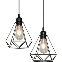 Vintage Pendant Light,Industrial E27 Hanging Light Metal Iron Chandelier Retro Hanging Lamp Vintage Diamond Pendant Light Black 20cm(2PCS)