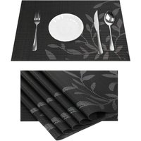 Vinyl Black Place Mats Heat Resistant with Leaf Design for Dining Table Kitchen Non-Slip Washable PVC Set of 6