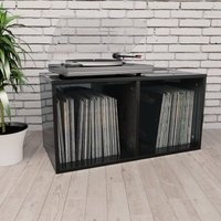 Vinyl Storage Box High Gloss Black 71x34x36 cm Chipboard