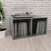 Vinyl Storage Box High Gloss Grey 71x34x36 cm Chipboard
