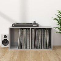 Zqyrlar - Vinyl Storage Box High Gloss Grey 71x34x36 cm Chipboard - Grey