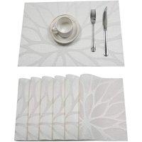 Vinyl Woven Crossweave Placemats Heat Resistant Non-Slip Kitchen Table Mat Easy Clean Kitchen Table Mat (Set of 6, White)