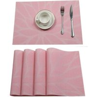 Vinyl Woven Crossweave Placemats Non-slip Heat Resistant Kitchen Table Placemats Easy Clean Kitchen Table Mat (Set of 6, Pink)
