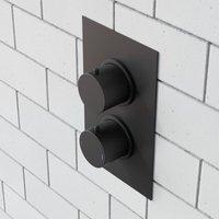 Violet Modern Round 2 Way Concealed Thermostatic Shower Mixer Valve - Black Matt