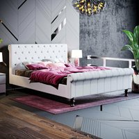 Violetta King Size Bed, Light Grey Linen - HOME DISCOUNT