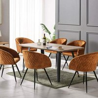 Vittorio Velvet Chair and Rocco Dining Table (WALNUT and TAN)