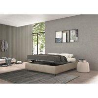 vivaldi single bed with container beige, vintage effect fabric - TALAMO ITALIA