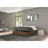 vivaldi single bed with container brown, vintage effect fabric - TALAMO ITALIA