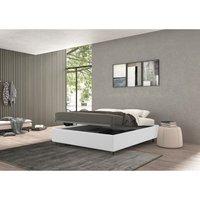 vivaldi single bed with container white, polyester fabric - TALAMO ITALIA