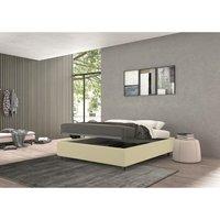 vivaldi single bed with container cream, polyester fabric - TALAMO ITALIA