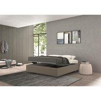 vivaldi single bed with container turtledove, polyester fabric - TALAMO ITALIA