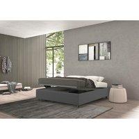 vivaldi single bed with container grey, polyester fabric - TALAMO ITALIA