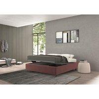 vivaldi single bed with container burgundy, velvet - TALAMO ITALIA