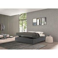 vivaldi single bed with container grey, velvet - TALAMO ITALIA