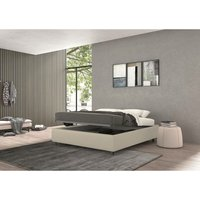 vivaldi single bed with container cream, eco-leather - TALAMO ITALIA